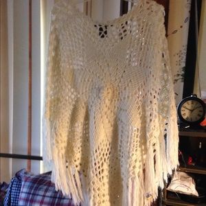Ivory crocheted poncho cape one size